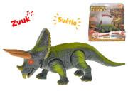 Dinosaurus Triceratops 2 3cm na baterie se světlem a zvukem