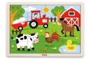 Dřevěné puzzle 16 dílků - farma Viga