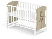Dřevěná postýlka Baby sky Miki  - Miki 102 dub bílá bez šuplíku