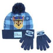 Sada rukavice, čepice s bambulí - Tlapková patrola modrá