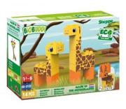 BiOBUDDi stavebnice Wildlife Steppe 2v1 žirafa/jelen 14ks 18m+