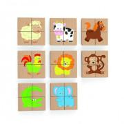Dřevěné magnetické puzzle - zvířátka Viga