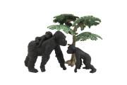 Zvířátka safari Zoo 8 cm 3 ks goril + 1 strom
