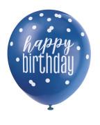 Balónek pastel 30 cm potisk - Happy birthday modrý mix, 6 ks