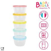 Badabulle misky s víčky Maxi fun colors 250 ml sada 5 ks