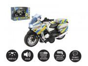 Motorka policejní 12cm kov/plast na zpětné nat. na baterie se světlem se zvukem CZ v krabi