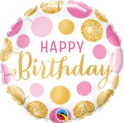 """18"""" foliový balónek kruh - Narozeniny růžové a zlaté puntíky"""