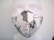 Látková respirační rouška - maska dámská jednovrstvá pejsek a kočička