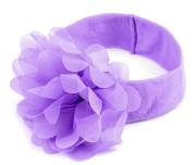 Dětská elastická čelenka s květem fialová