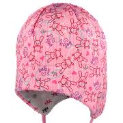 Funkční kojenecká zavazovací čepice na uši Zajíčci Růžová RDX