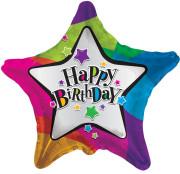 Fóliový balónek Hvězda 46cm HAPPY BIRTHDAY