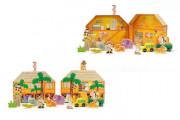 Safari/ZOO dřevěné figurky + domeček 16 ks