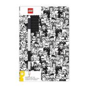 Zápisník A5 s černým perem LEGO Stationery - Minifigure Brick
