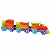 Duhový vláček s dvěma vagony - dřevěná skládačka Cubika