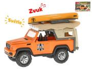 Auto terénní 23 cm s kánoí na setrvačník na baterie se světlem a zvukem