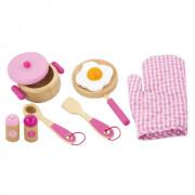 Dřevěná sada nádobí - růžová Viga