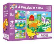4 Puzzle v krabici - Zvířatka 18 m+