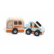 Auto s karavanem - dřevěná hračka s magnetem Cubika