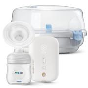 Odsávačka mateřského mléka elektronická Premium dobíjecí SCF396 + Sterilizator