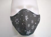 Látková respirační rouška - maska dámská jednovrstvá vločky šedá
