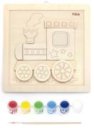 Dřevěné malování - lokomotiva Viga