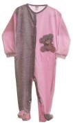 Kojenecký overal dlouhý rukáv/nohavice růžový/šedy + medvídek