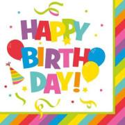 Ubrousky 33x33cm, 3vrstvé, 20 ks, Happy Birthday