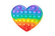 Bubble pops - Praskající bubliny silikon antistresová spol. hra srdce duha 13x11cm