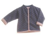 "Kabátek oboustranný bez kapuce""Jeans"" MKcool Modrá denim/růžová srdíčka"