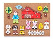 Korková deska s přibíjejícími tvary - Zvířátka -150 dílků