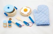 Dřevěná sada nádobí - modrá Viga
