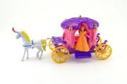 Kůň s kočárem + panenka plast 40cm