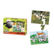 Shaun the Sheep - Oboustranné puzzle s pastelkami 50 ks