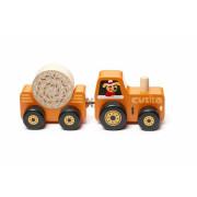 Traktor s vlekem - dřevěná skládačka s magnetem Cubika