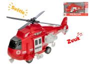 Helikoptéra 28cm na setrvačník na baterie se světlem a zvukem červená