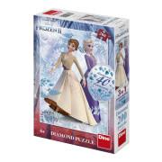 Puzzle 3v1 Ledové království II/Frozen II 200 dílků s diamanty s lepidlem