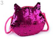 Dětská kabelka kočka s oboustrannými měnícími flitry 16x17 cm TM. RŮŽOVÁ