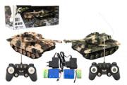 Tank RC 2ks 25 cm tanková bitva+dob. pack 27MHZ a 40MHz maskáč se zvukem se světlem