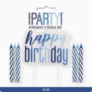 Set svíček - modré dortové Happy birthday! 13 ks