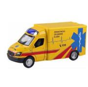 Auto ambulance kov/plast 13 cm na zpětné natažení na baterie se zvukem se světlem