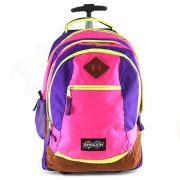 Školní batoh trolley Smash Růžová lemovaná neonově žlutou