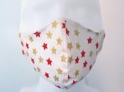 Látková respirační rouška - maska dámská jednovrstvá Vánoční hvězdičky červená a zlatá