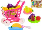 Růžový nákupní vozík s ovocem a doplňky