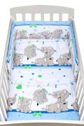 3-dílné ložní povlečení New Baby 100/135 cm modré se sloníky