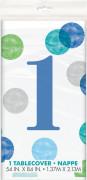 Ubrus plastový - 1. narozeniny modré puntíky, 137 x 213 cm