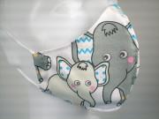 Látková respirační rouška - pro děti 3 - 6 let jednovrstvá Sloni
