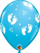 """Balónek Qualatex 11"""" potisk """"Dětské krůčky"""" modrý (6 ks v balení)"""