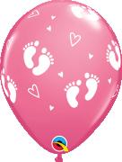 """Balónek Qualatex 11"""" potisk """"Dětské krůčky"""" růžový (6 ks v balení)"""
