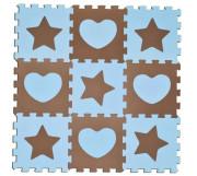 Koberec pěnový, modrý 9 ks, 32 x 32 cm