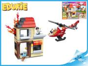 EDUKIE stavebnice hasičská stanice s vrtulníkem 250 ks + 3 figurky